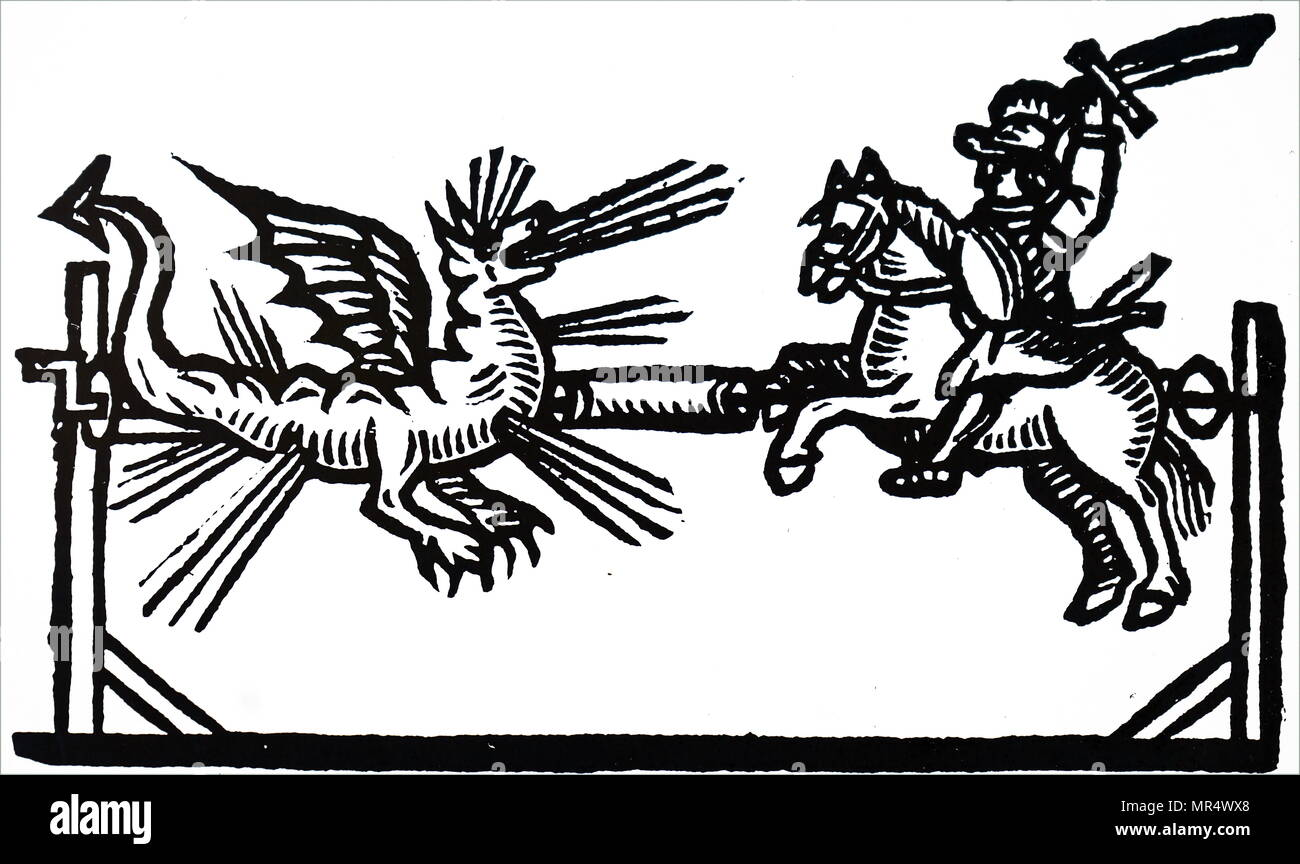 Illustration depicting a firework set piece of St George fighting the Dragon. Wickerwork or straw figurers were made, and various types of fireworks placed in them. Using a system of ropes and pulleys the figures could be made to move towards or away from each other. Dated 17th century - Stock Image