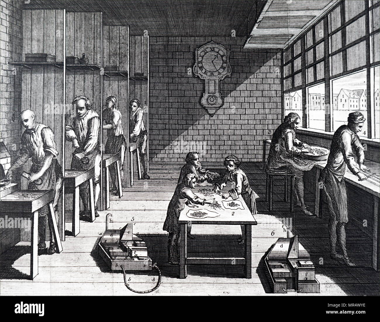 Illustration depicting the process of casting type: At 1) on left are 4 type-founders, each with a small furnace for melting the alloy of lead and iron from which the type is cast. The man at the front is filling a ladle with molten metal, ready to tip it into the mould in his left hand. The average number of letters cast in a day was 3000. The letters are next passed to the boys at 2) who break off the shanks. At 3) they are rubbed on a stone to remove un-wanted roughness, and at 4) they are cut to one length. Dated 18th century Stock Photo