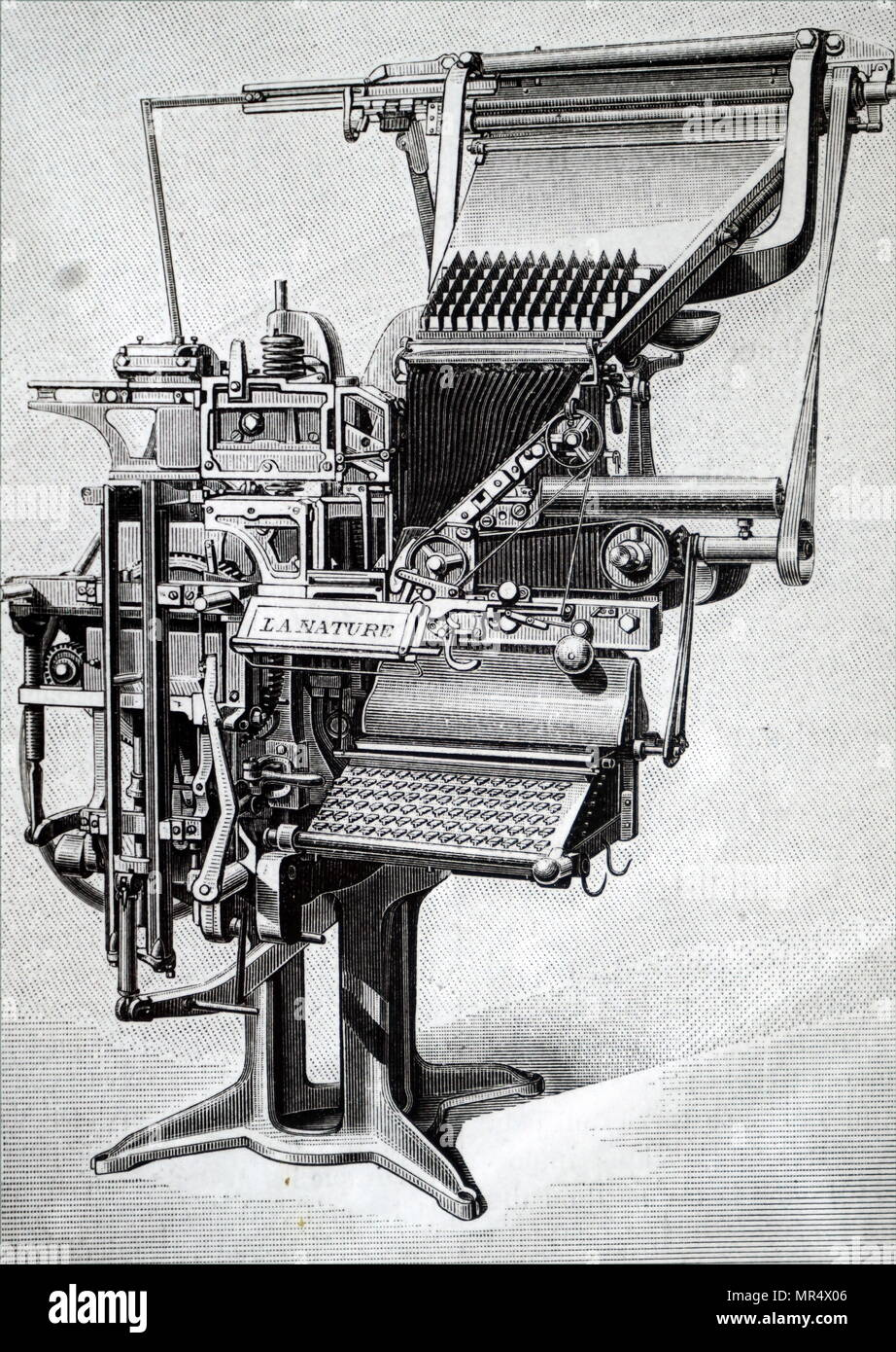 Illustration depicting a Linotype Machine, a composing