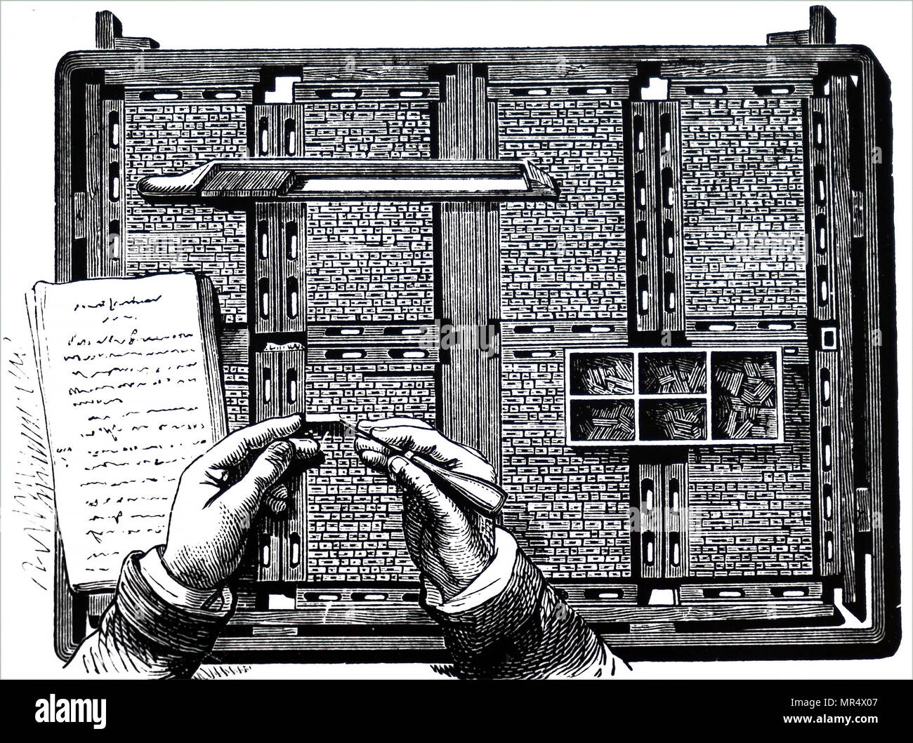 Engraving depicting a compositor making corrections at gallery proof stage. Pages of type with furniture for spacing pages have been locked in chase by wedges called Quoins. The composing stick with replacements is lying above the compositors hands, ready for corrections to be slipped in when mistakes have been removed. Dated 19th century - Stock Image