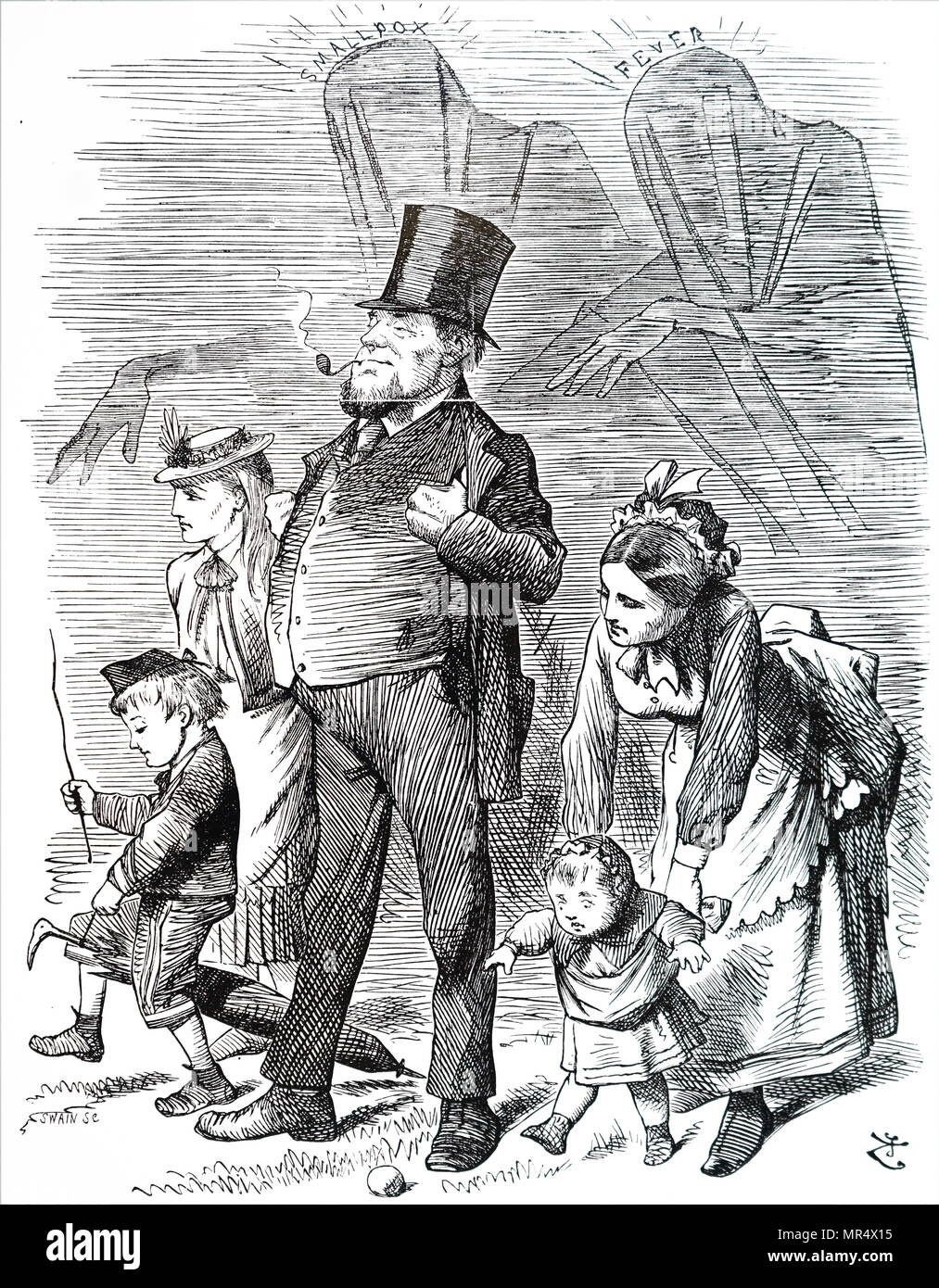 Cartoon commenting on public apprehension about the possible danger if a fever hospital was built at Hampstead close to the Heath which was a great lung and playground for Londoners. Illustrated by John Tenniel (1820-1914) an English illustrator, graphic humourist, and political cartoonist. Dated 19th century - Stock Image