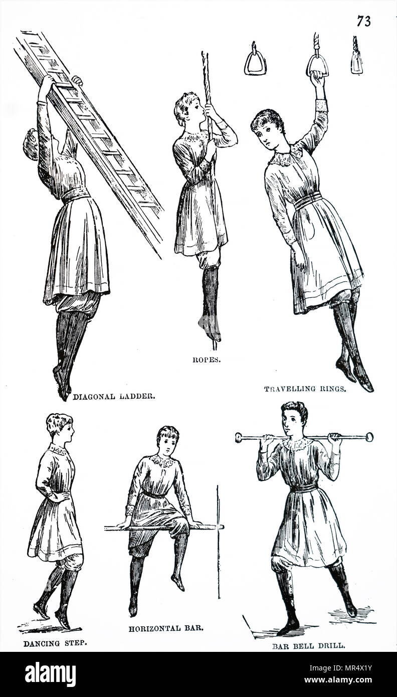 19th Century Warehouse Stock Photos Dance Diagrams As Well Step Diagram Depicting Calisthenics For Girls Using A Chest Expander Which May Be Produced At