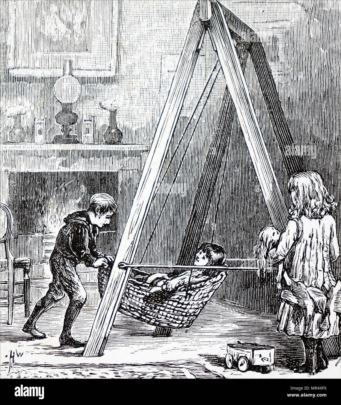 Illustration depicting a children's indoor swing, located inside the nursery of a wealthy home. Dated 19th century - Stock Image