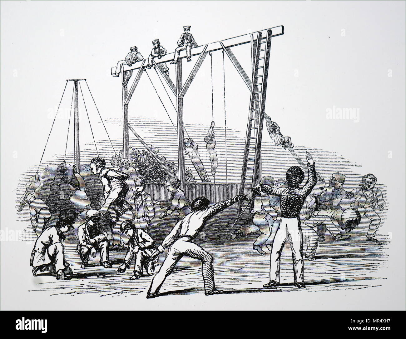 Illustration depicting boys doing gymnastics. Dated 19th century - Stock Image