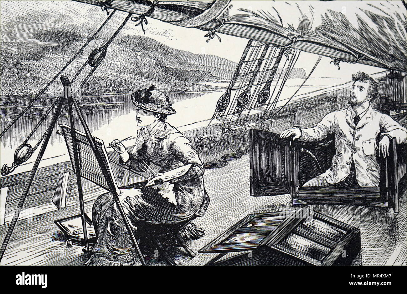 Illustration depicting a young woman painting on the deck of a boat as it sails down a river. Dated 19th century - Stock Image