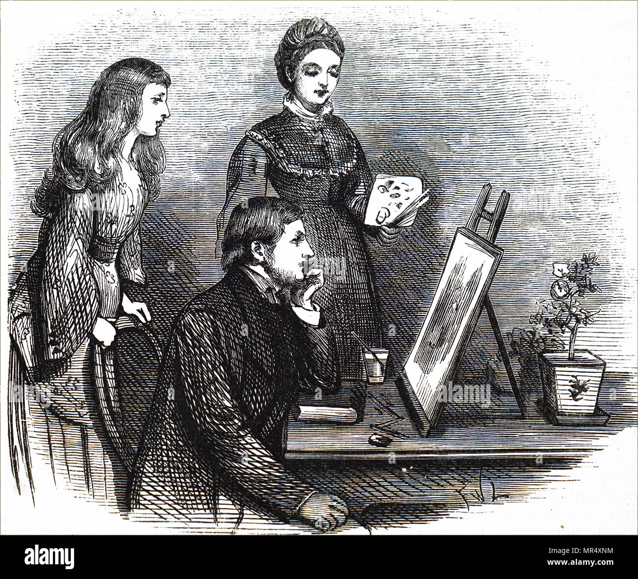 Illustration depicting a young woman presenting her work to her family. Illustrated by Francis Wilfred Lawson (1842-1935) a British artist and illustrator. Dated 19th century - Stock Image