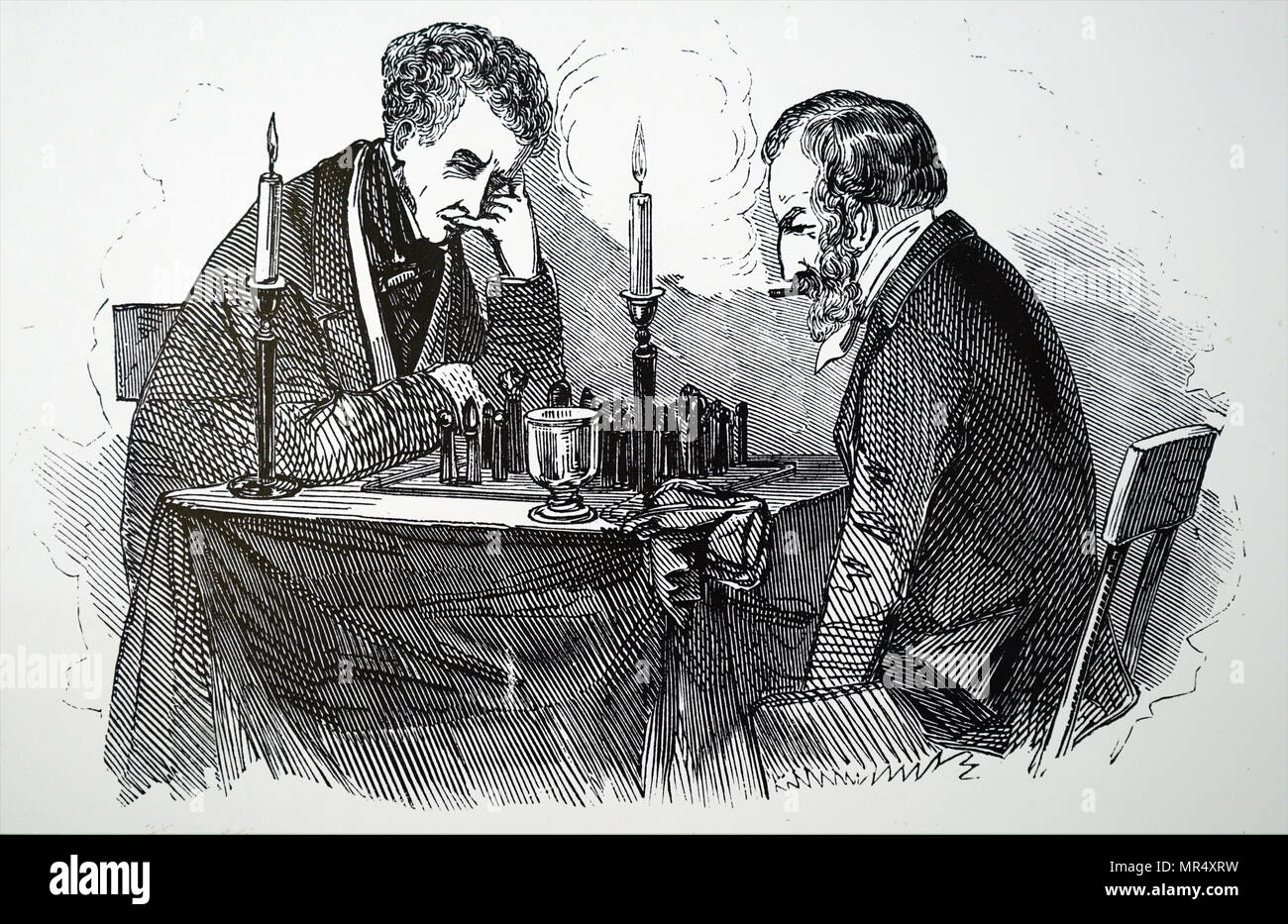 Illustration depicting a chess match between Howard Staunton and Bernhard Horwitz. Howard Staunton (1810-1874) an English chess master. Bernhard Horwitz (1807-1885)  German chess master and chess writer. Dated 19th century - Stock Image