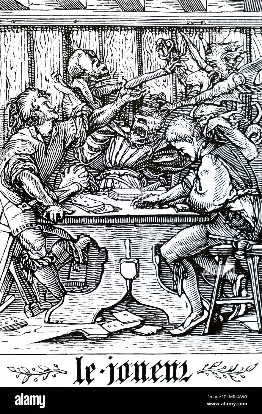 Engraving depicting 'The Gambler' being visited by Death. Dated 16th century - Stock Image