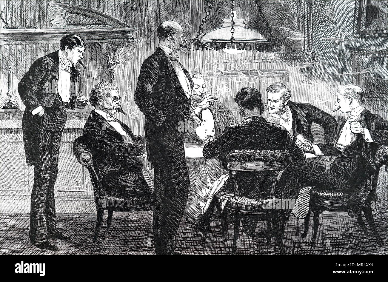 Illustration depicting gentlemen at the card table smoking cigars. Dated 19th century - Stock Image