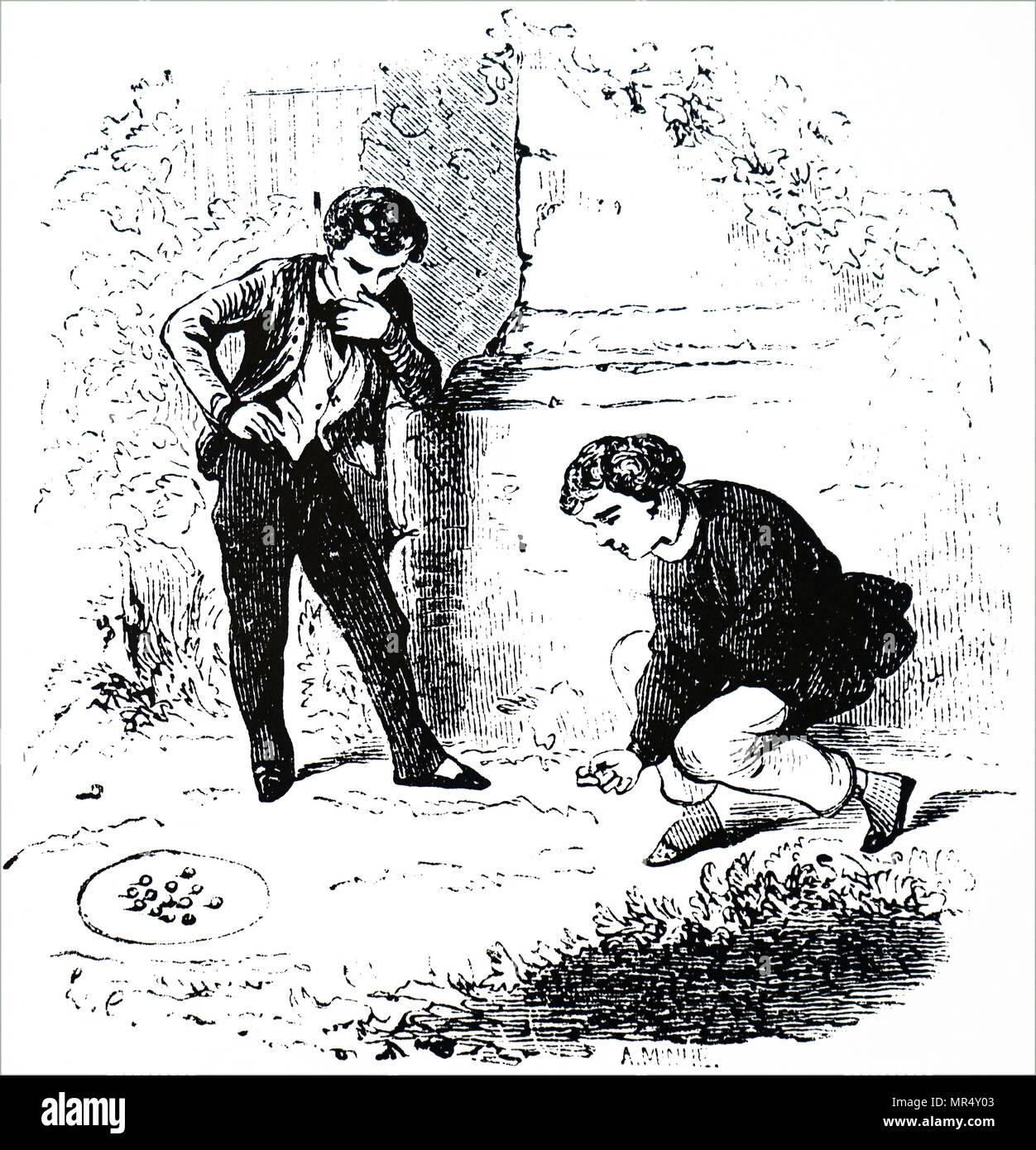 Illustration depicting boys playing marbles. Dated 19th century - Stock Image