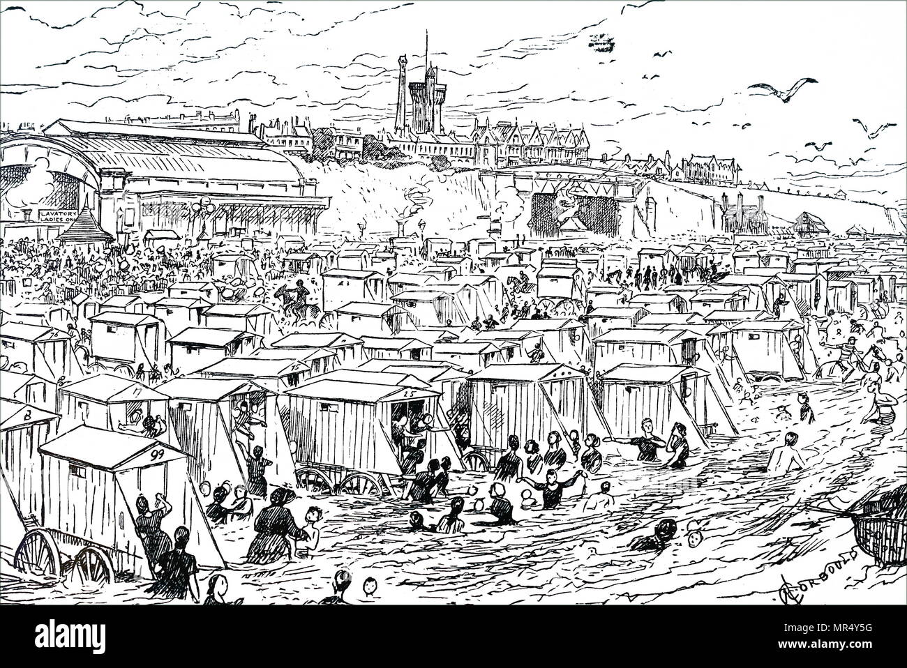 Cartoon depicting a typical Victorian British seaside resort. The beach and sea has been taken over by holidaymakers. Dated 19th century - Stock Image