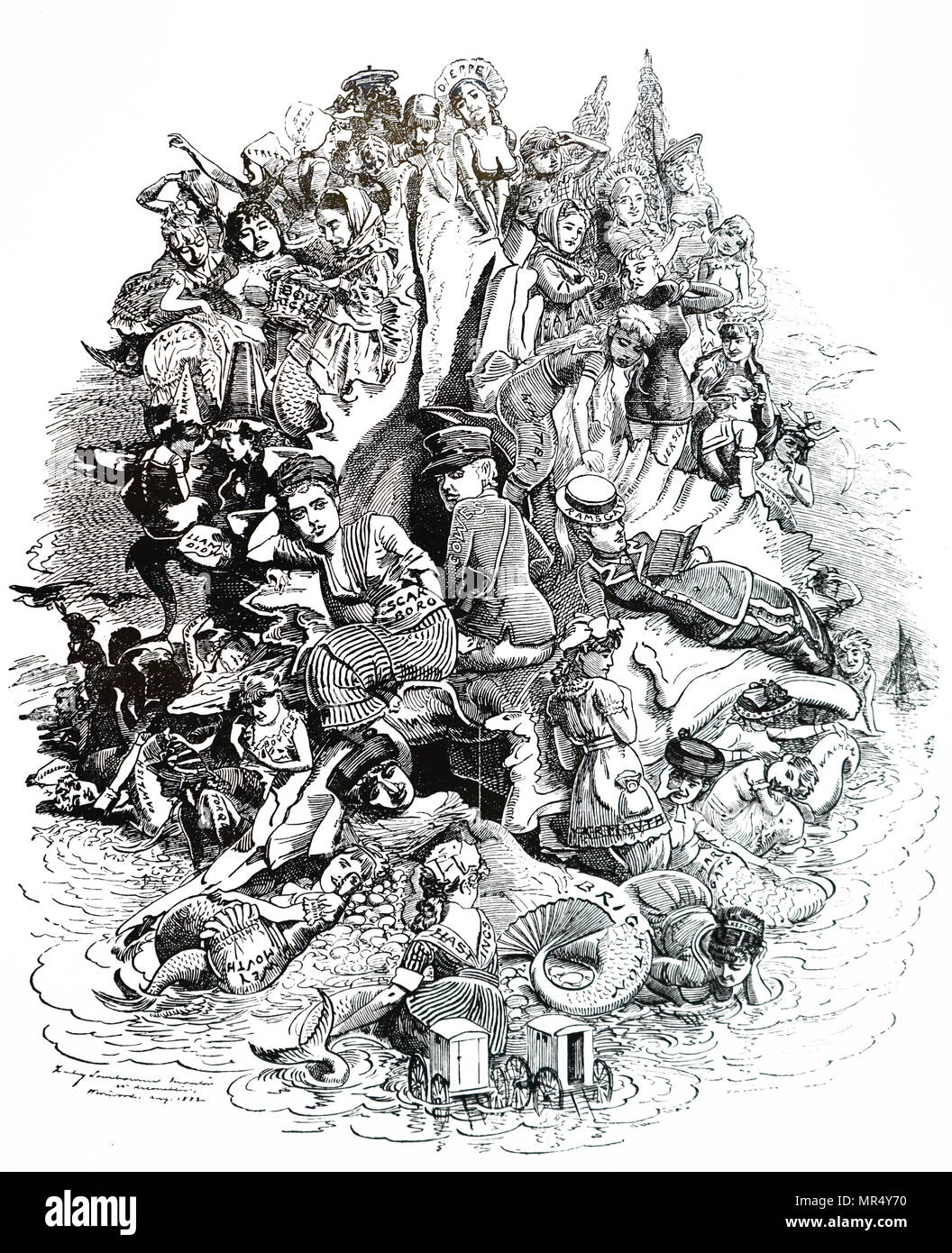 Cartoon commenting on British seaside resorts, each given prominence it earned by the number of visitors it attracted. Illustrated by Edward Linley Sambourne (1844-1910) an English cartoonist and illustrator. Dated 19th century - Stock Image