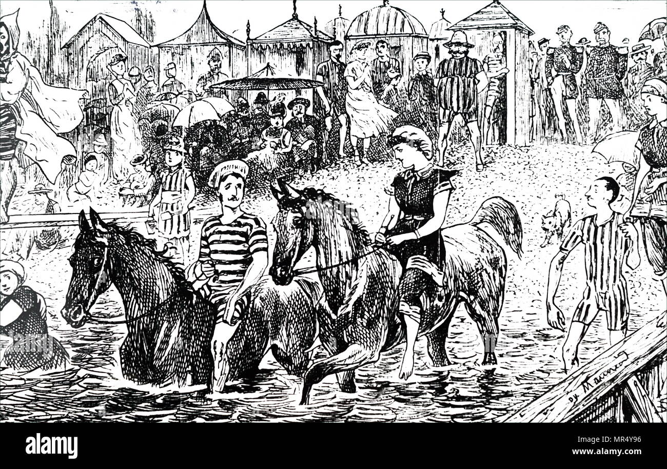 Illustration depicting the various seaside attractions available. Illustrated by George du Maurier (1834-1896) a Franco-British cartoonist and author. Dated 19th century - Stock Image