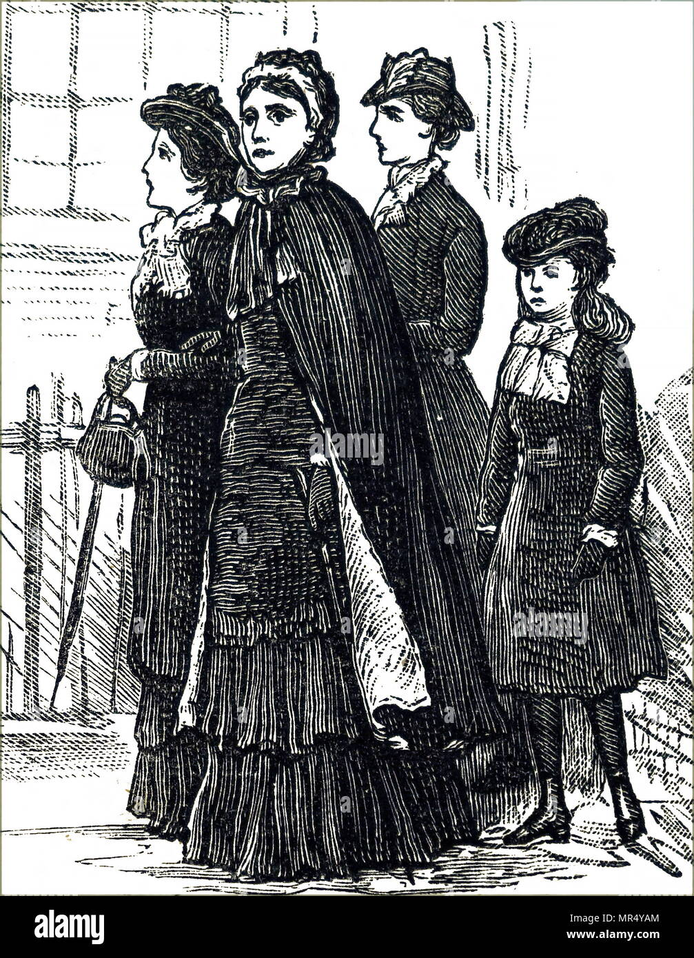 Illustration depicting working-class women looking for holiday lodgings in a seaside town. Dated 19th century - Stock Image