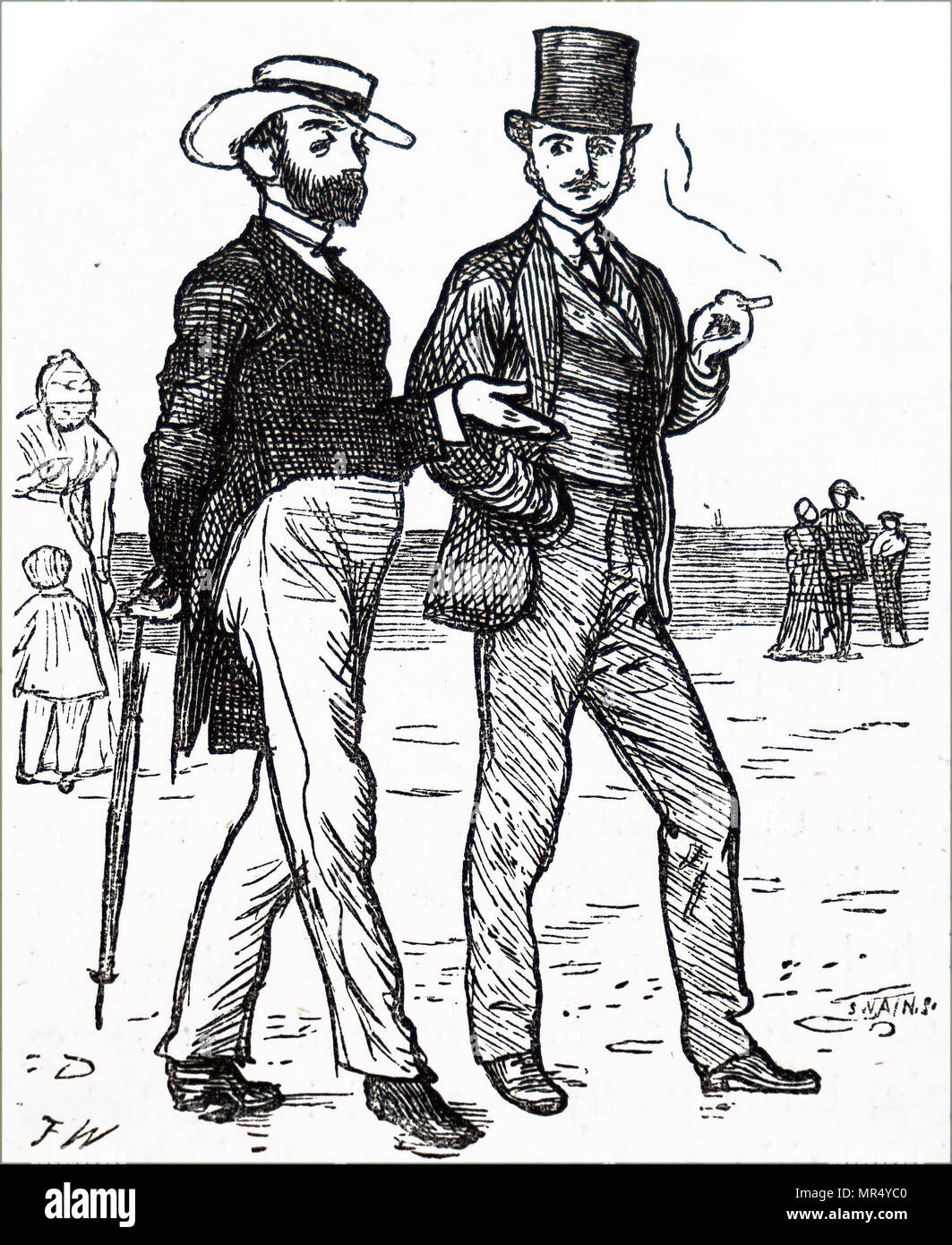 Illustration depicting an Englishman and Frenchman at a seaside resort in Normandy. Dated 19th century - Stock Image