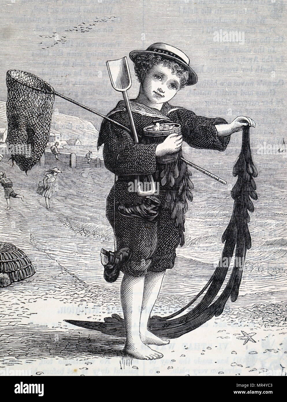 Illustration depicting a typical day at the seaside during the Victorian Era. This young boy holds up a large piece of seaweed, whilst in his other hand he holds a bucket of cockles, a popular seaside snack. Dated 19th century - Stock Image