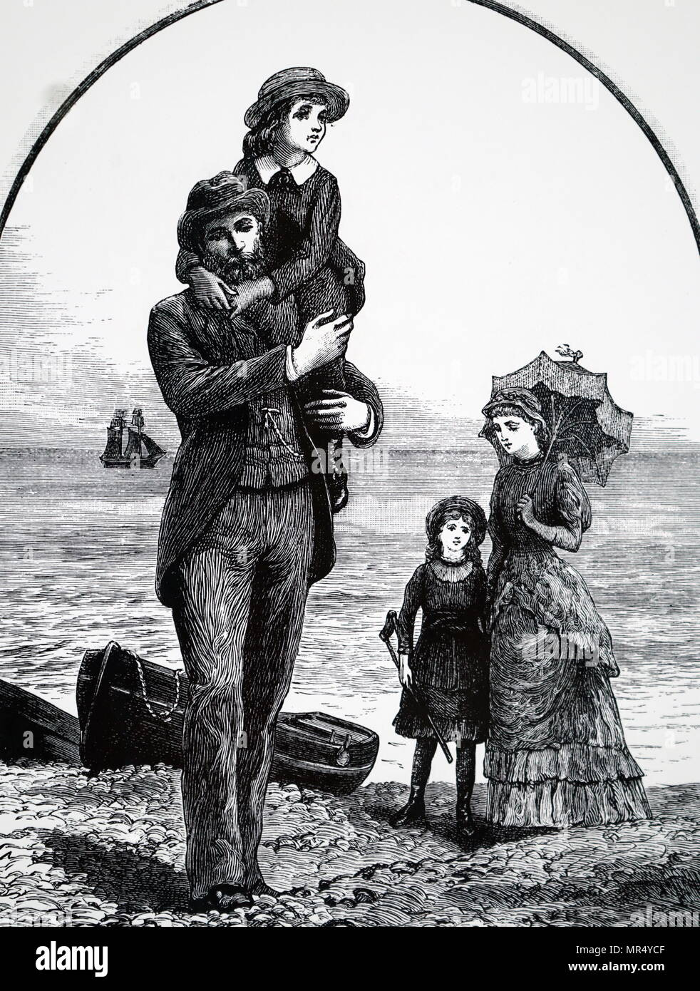 Illustration depicting a typical middle-class Victorian family at the seaside. Illustrated by Everard Hopkins (1860-1928) a British artist and illustrator. Dated 19th century - Stock Image