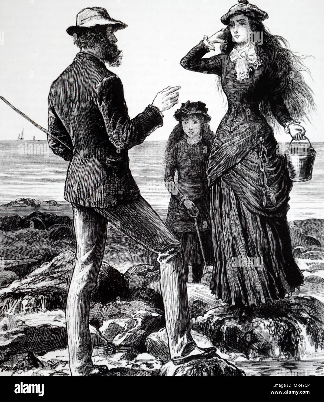 Illustration titled 'Seaside Holiday' depicts a young upper-class mother and daughter speaking with a local man as they stand on the beach with a bucket and spade. Illustrated by Frank Dadd (1851-1929) a British artist and illustrator. Dated 19th century - Stock Image
