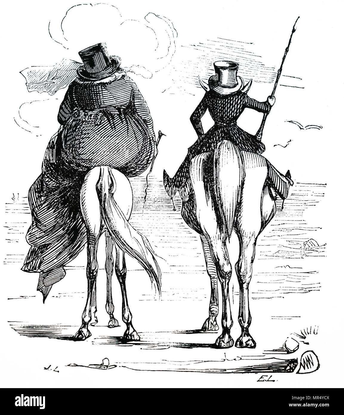 Cartoon depicting the fat and the lean enjoying a seaside holiday in conjugal companionship. Dated 19th century - Stock Image