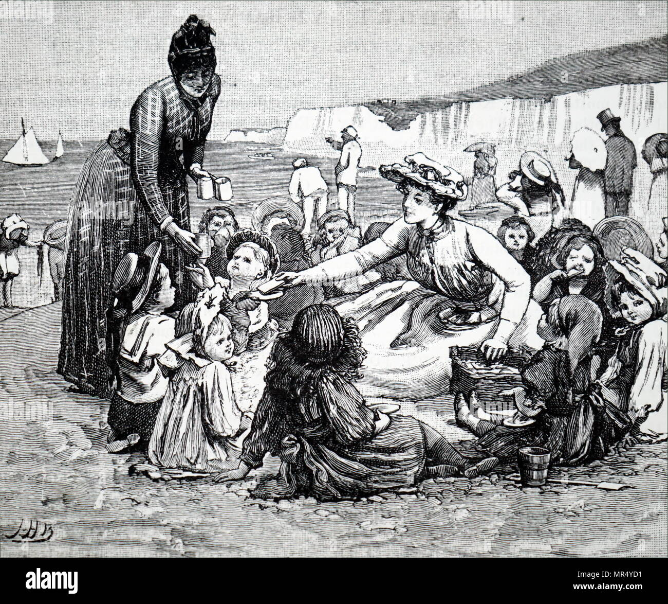 Illustration depicting a seaside outing for poor children. Dated 19th century - Stock Image
