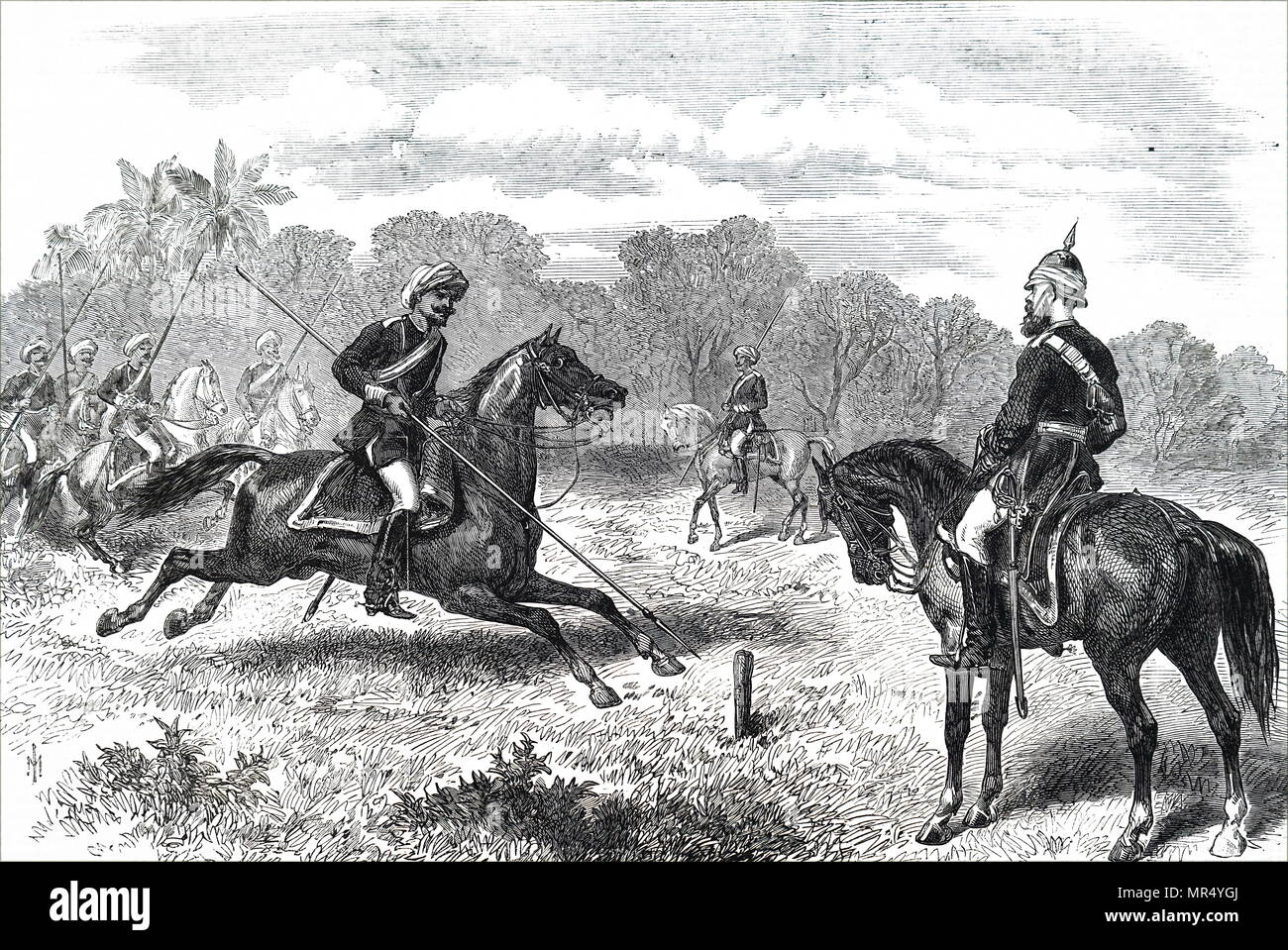 Illustration depicting men of the 8th Bengal Cavalry riding at a tent peg. Dated 19th century Stock Photo