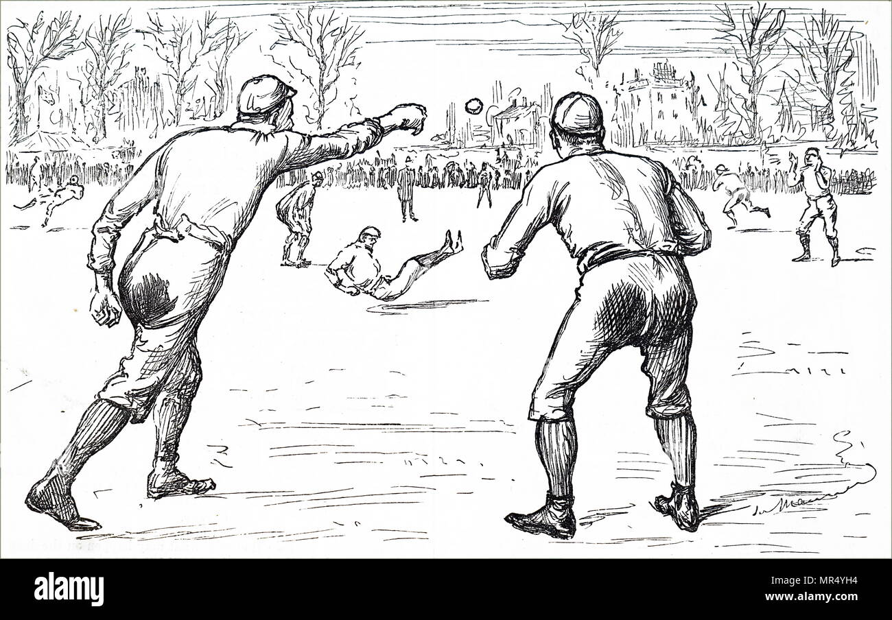 Illustration depicting young men playing baseball. Dated 19th century - Stock Image