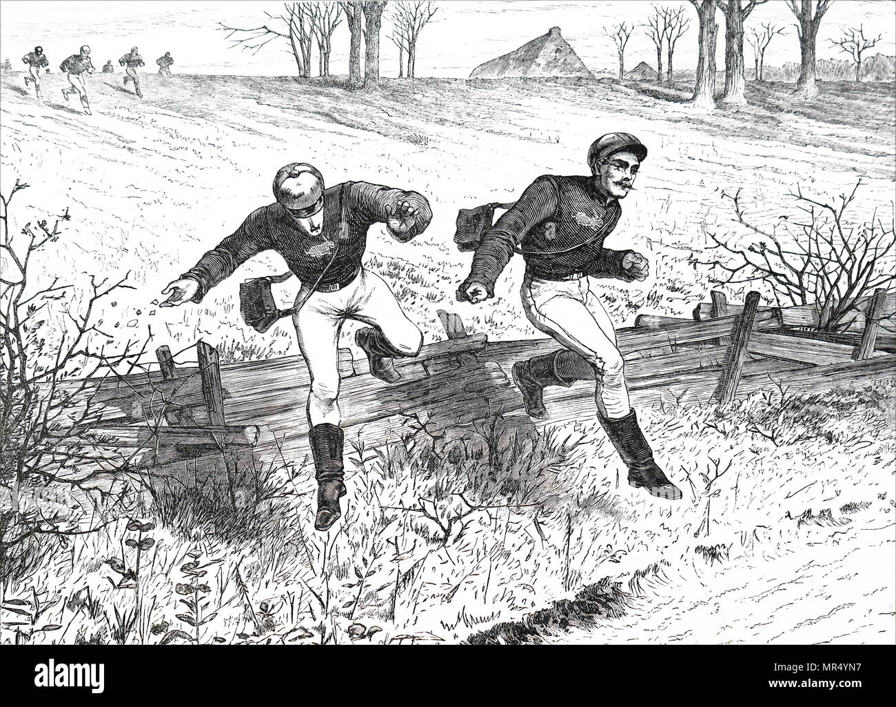 Illustration depicting members of the Thames Hare and Hounds Club taking part in a paper chase at Roehampton. Paper Chase, a racing game played outdoors (best played within a wood or even a shrubbery maze) with any number of players. Dated 19th century - Stock Image