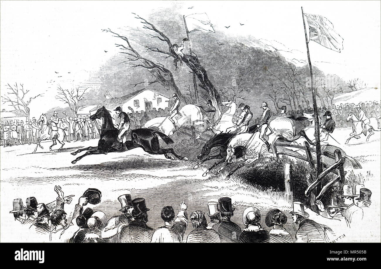 Illustration depicting the 1836 Grand Liverpool Steeplechase, the first of three unofficial annual precursors of a steeplechase which later became known as the Grand National. Dated 19th century - Stock Image