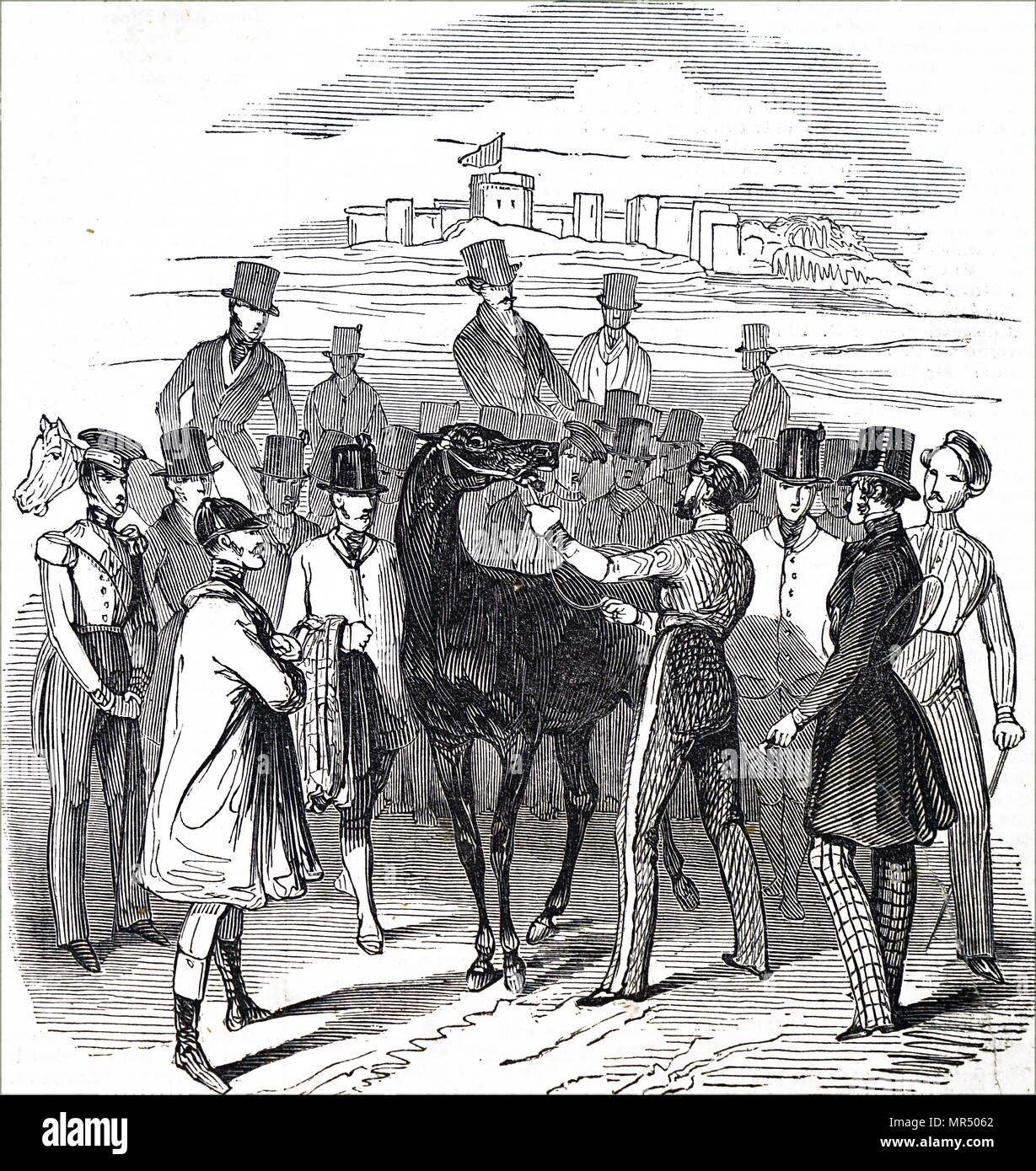 Illustration depicting a horse from the 1836 Grand Liverpool Steeplechase, the first of three unofficial annual precursors of a steeplechase which later became known as the Grand National. Dated 19th century - Stock Image