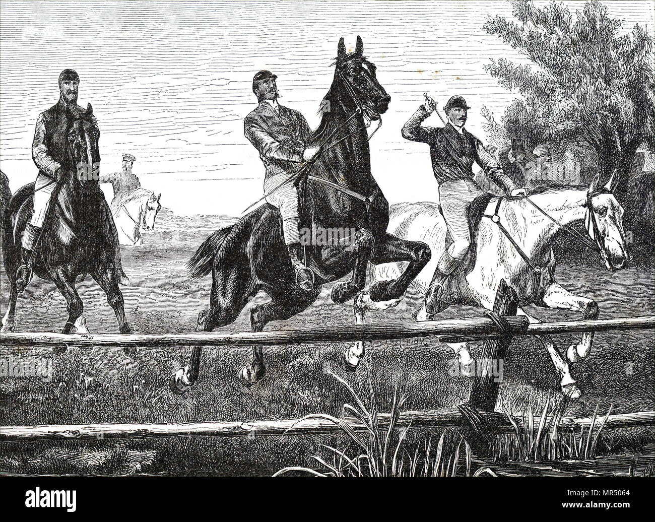Illustration depicting the 1836 Grand Liverpool Steeplechase, the first of three unofficial annual precursors of a steeplechase which later became known as the Grand National. Dated 19th century Stock Photo