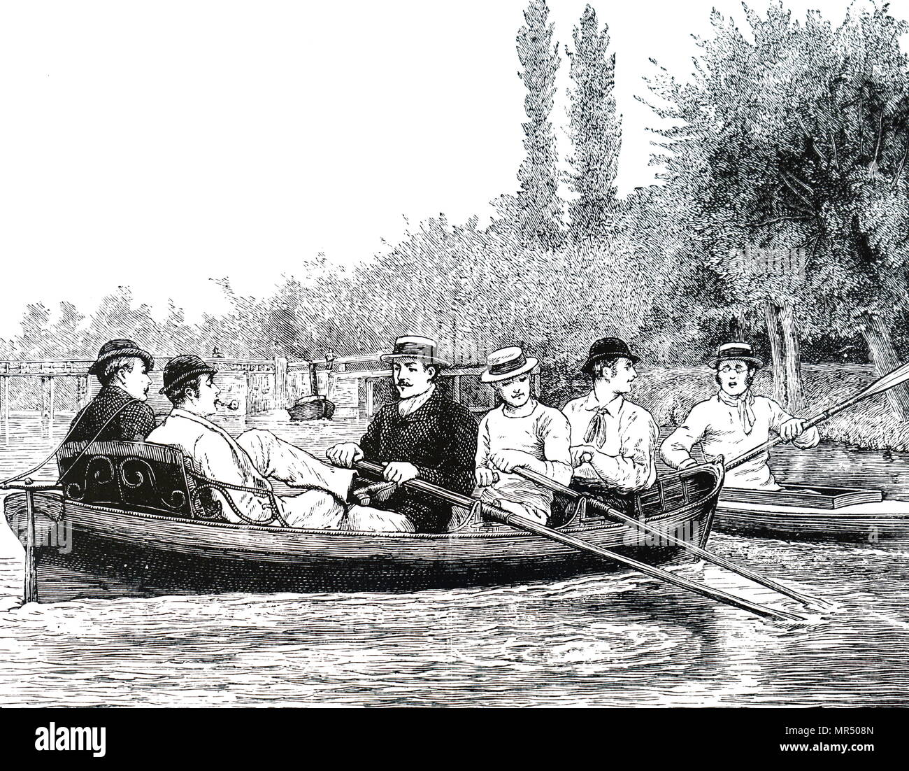 Illustration depicting Oxford University students rowing on the Iffley River. Dated 19th century - Stock Image