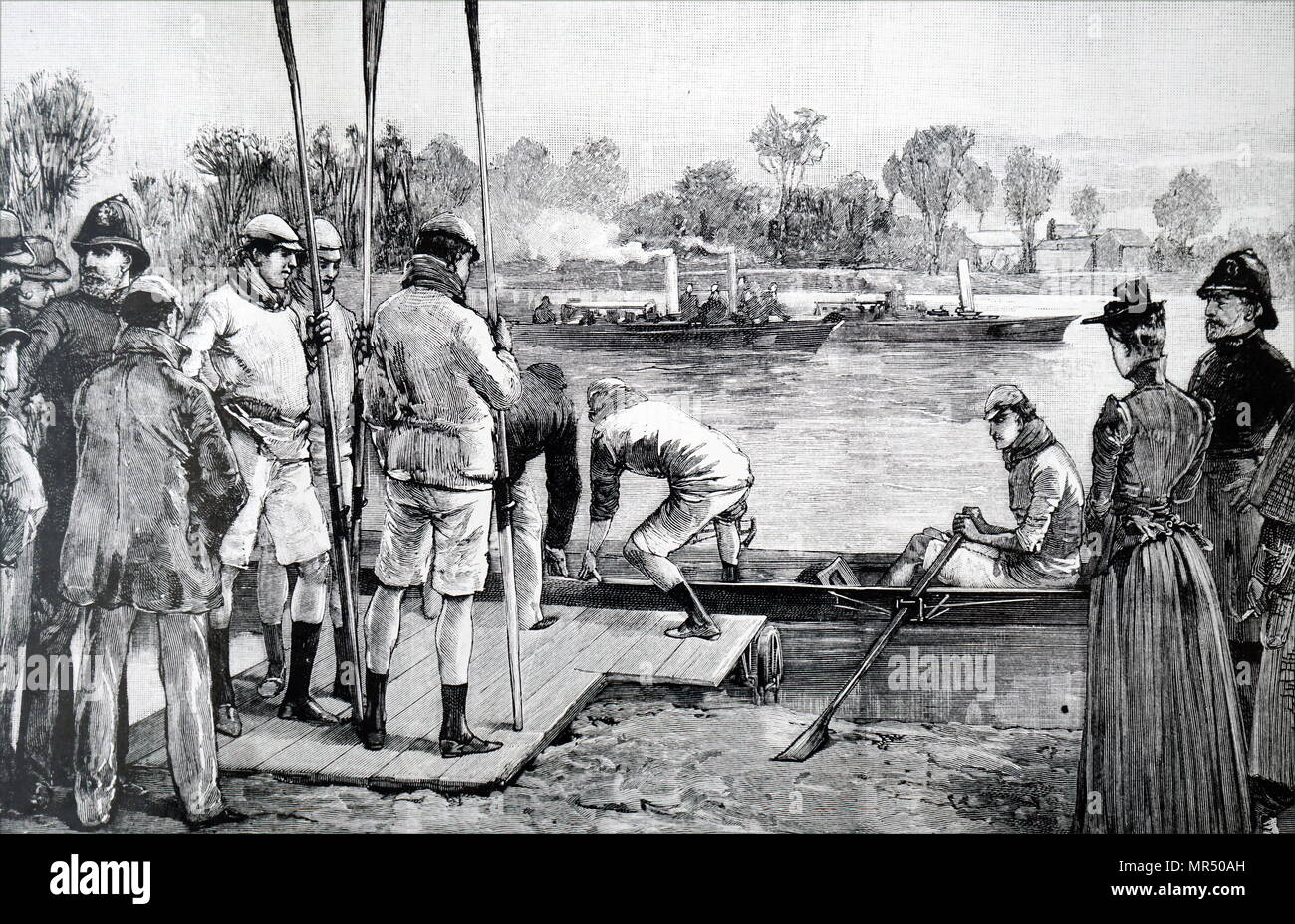 Illustration depicting a scene from Cambridge and Oxford University Boat Race. Dated 19th century - Stock Image