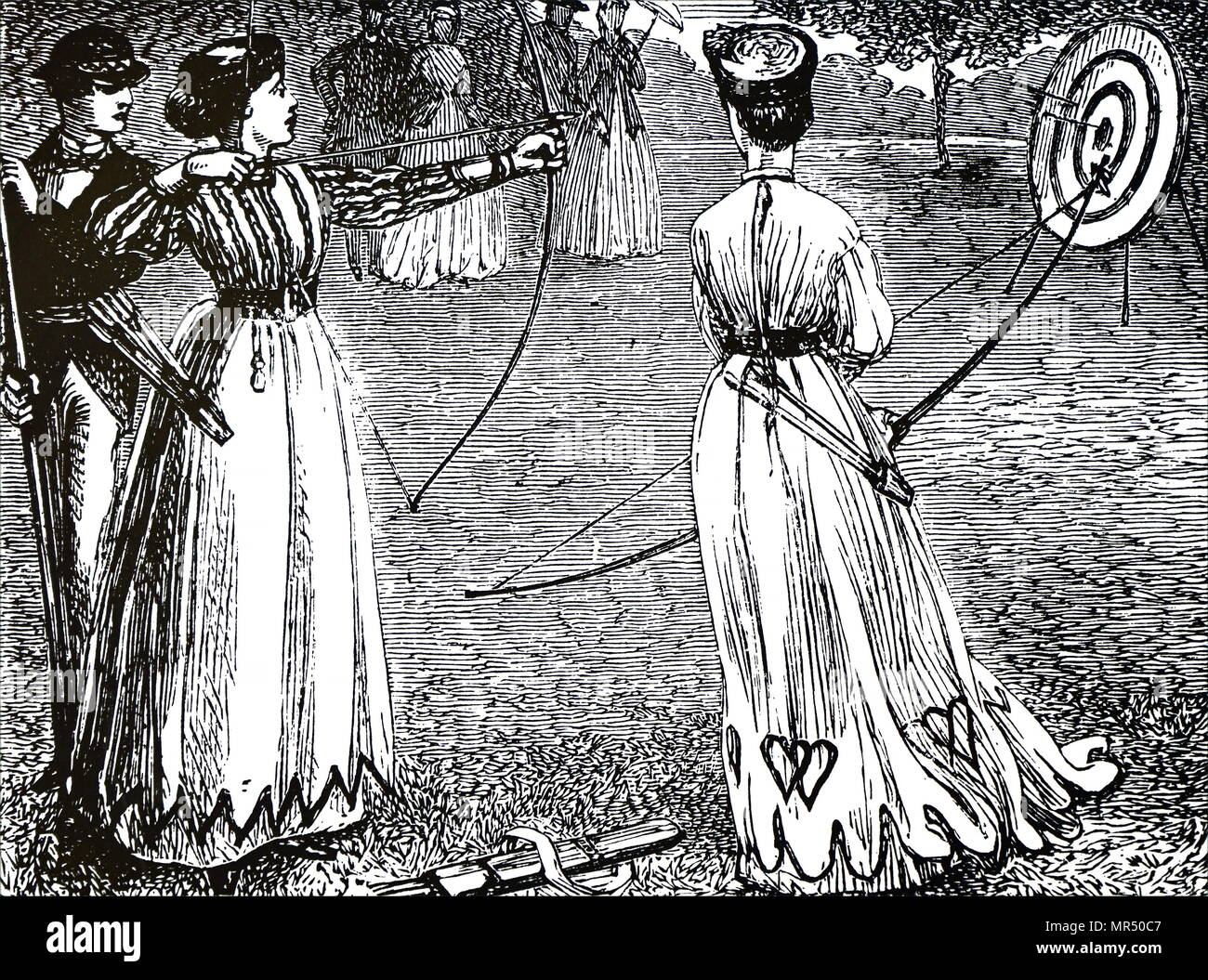 Engraving depicting young ladies practising their archery skills. Dated 19th century - Stock Image