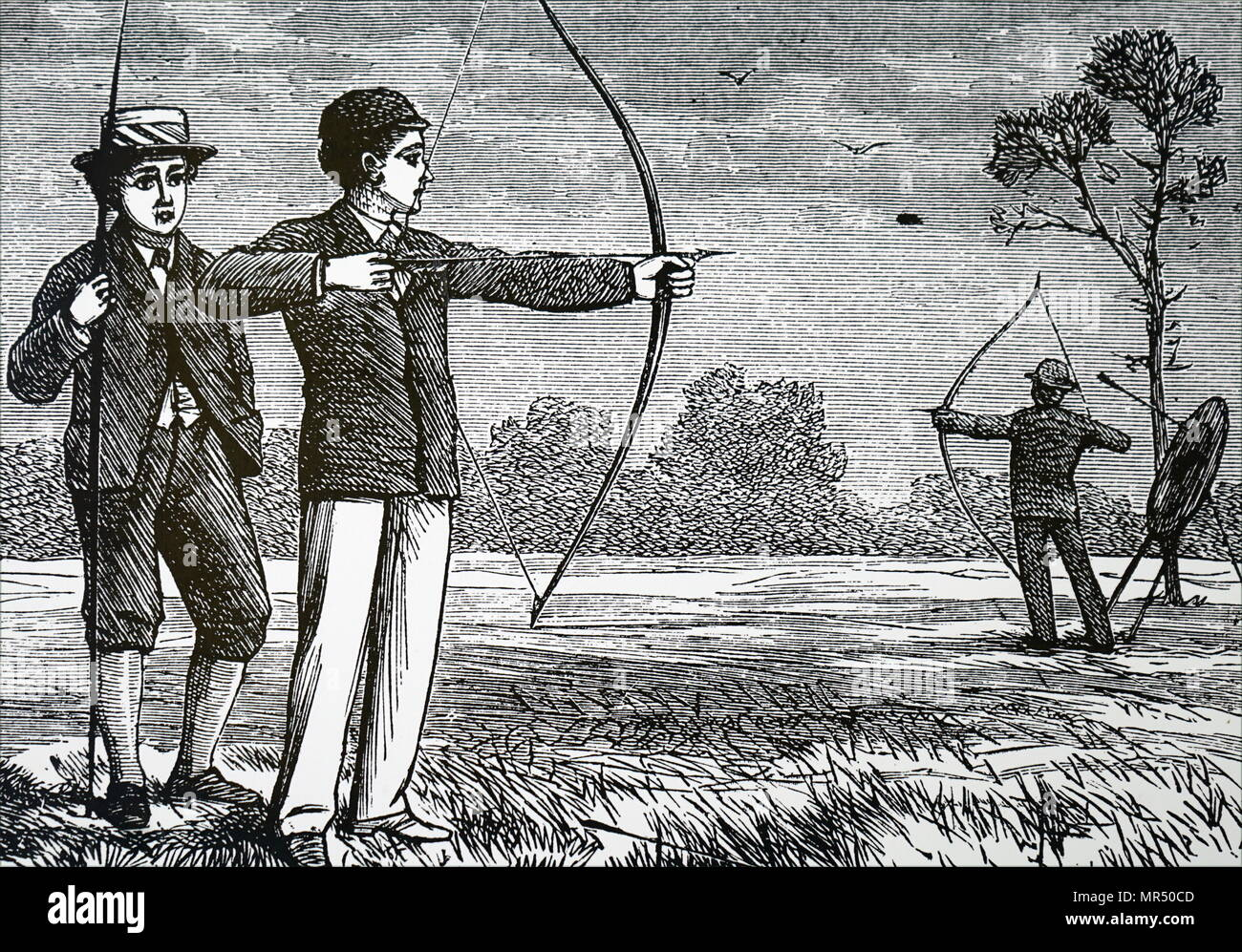Illustration depicting two schoolboys during an archery lesson. Dated 19th century - Stock Image