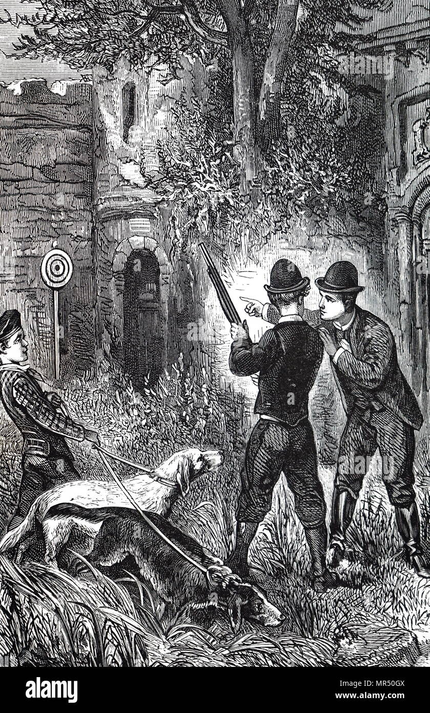 Engraving depicting a shooting lesson. Dated 19th century - Stock Image