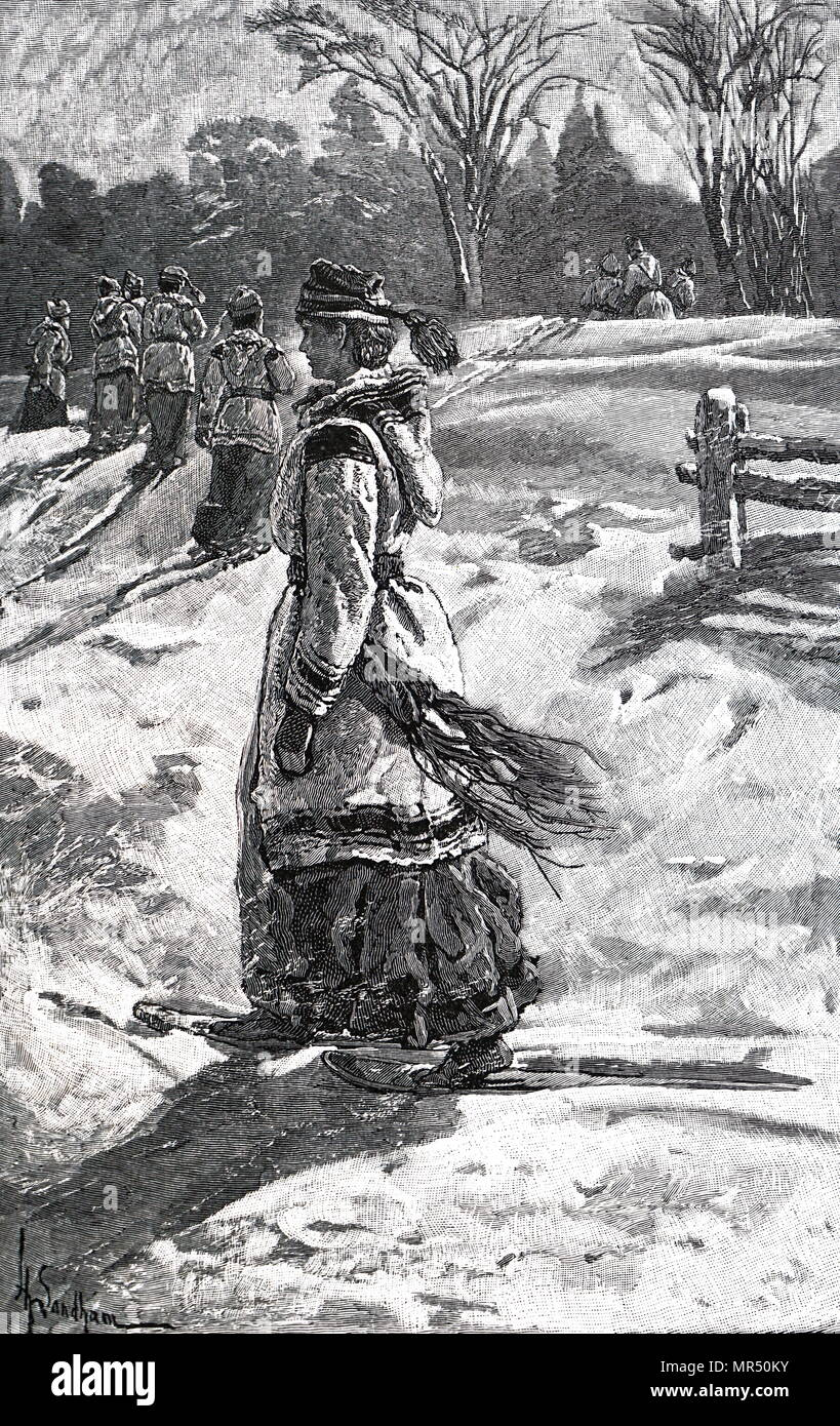 Illustration depicting a woman taking a stroll in the snow in Canada. Dated 19th century - Stock Image