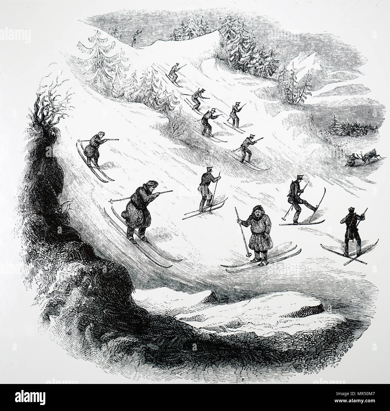 Illustration depicting members of the Norwegian Army being taught advance skiing techniques. All soldiers are trained in ski combat. Dated 19th century - Stock Image