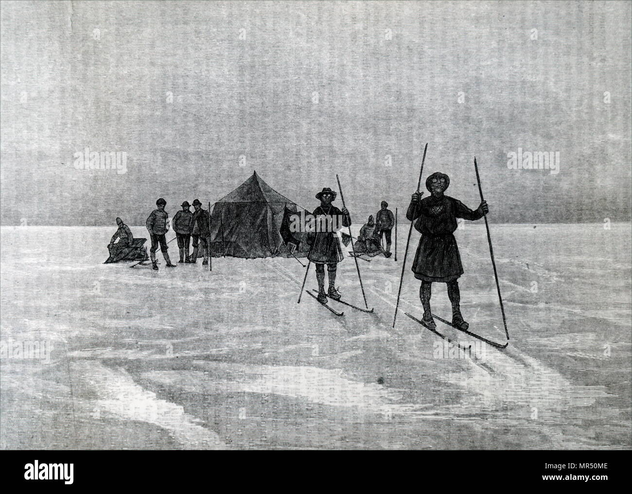 Illustration depicting members of the Nordenskjold expedition in Greenland using skis to penetrate the Inland Ice. Adolf Erik Nordenskjold (1832-1901) a Finnish and Swedish baron, geologist, mineralogist and Arctic Explorer. Dated 19th century - Stock Image