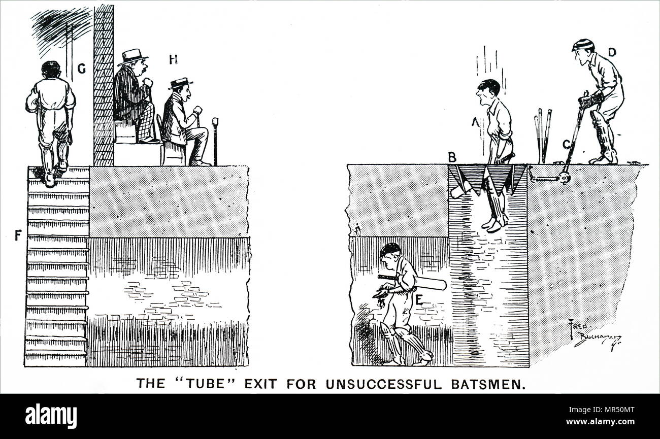Cartoon idea for saving a failed batsman the humiliation of walking to the pavilion under the gaze of spectators. Dated 19th century - Stock Image