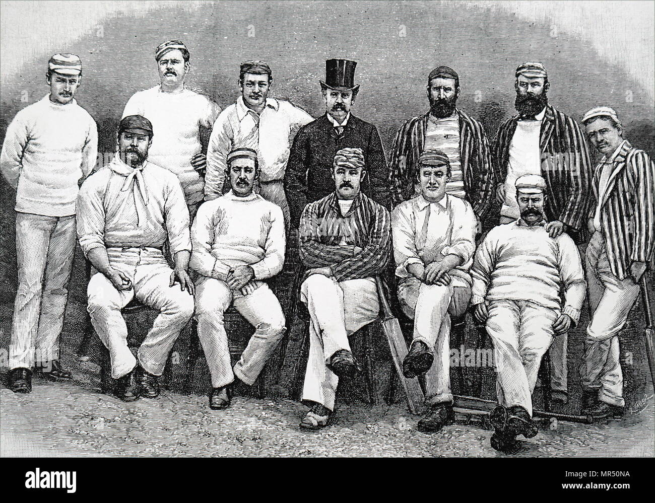 Illustration depicting the Australian touring cricket team of 1888. Seated left to right: G. J. Bonnor, C. T. B. Turnell, P. S. MacDonnell (Captain), H. Trott, A. C. Bannerman. Standing, left to right: F. J. Ferris, A. H. Jarvis, J. Worrall, C. W. Beal (Manager), J. M. C. Blackham, H. F. Boyle, J. Edwards. Dated 19th century - Stock Image