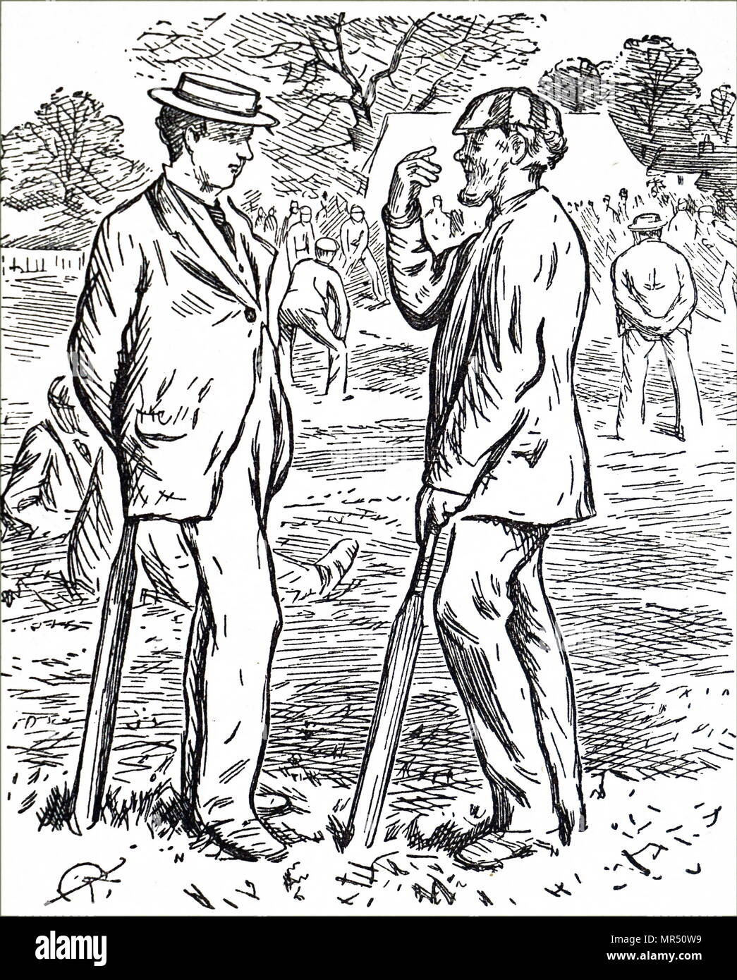 Cartoon depicting men playing cricket. Dated 19th century - Stock Image
