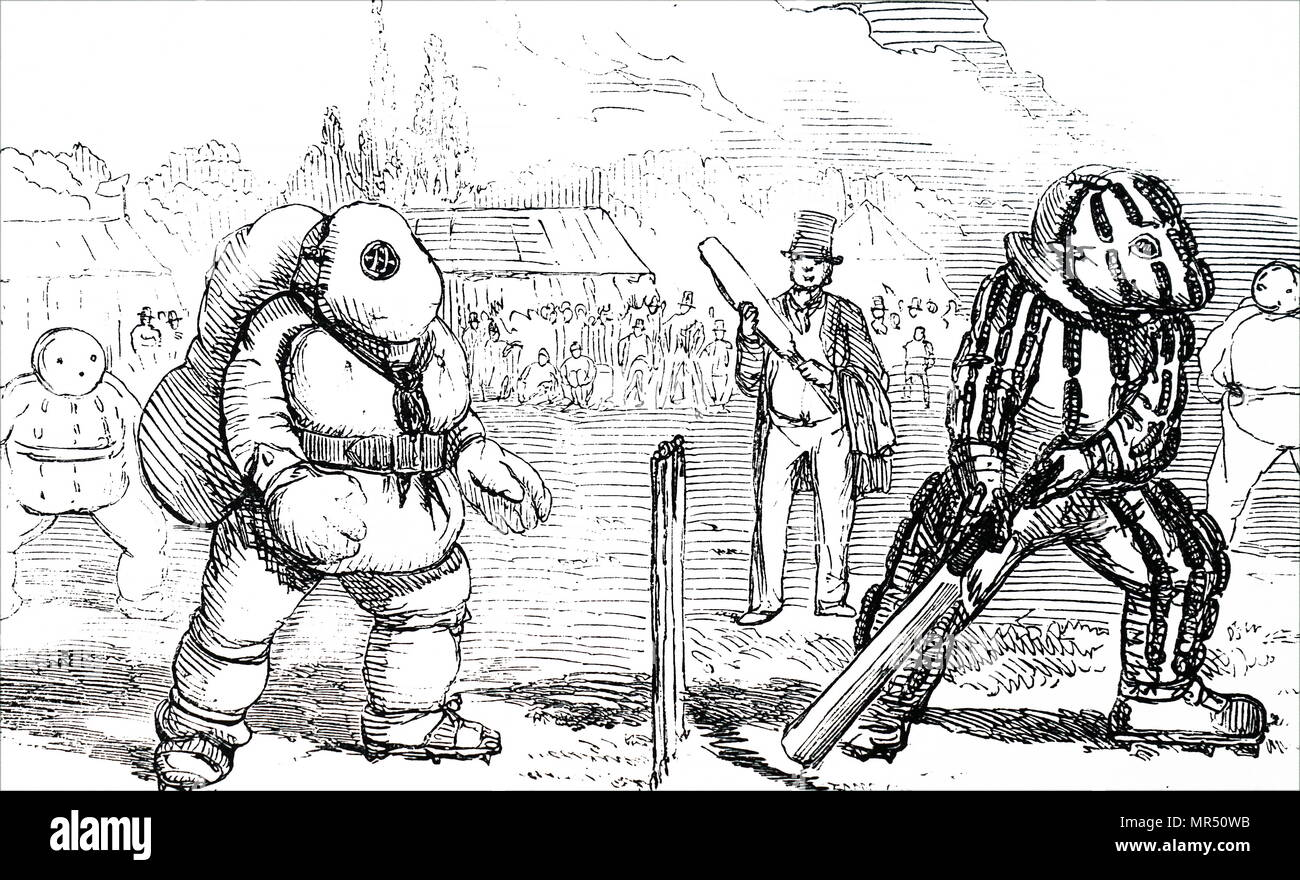 Illustration depicting suggested protective clothing to help the All England Team against the latest fast bowling. Dated 19th century - Stock Image