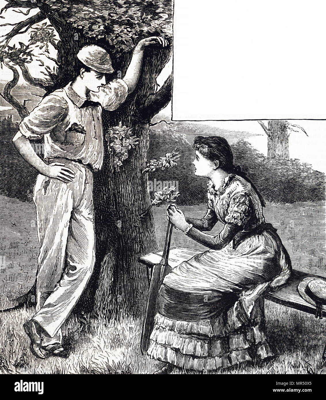 Illustration depicting a cricketer speaking to his lover, at the end of a game. Dated 19th century - Stock Image