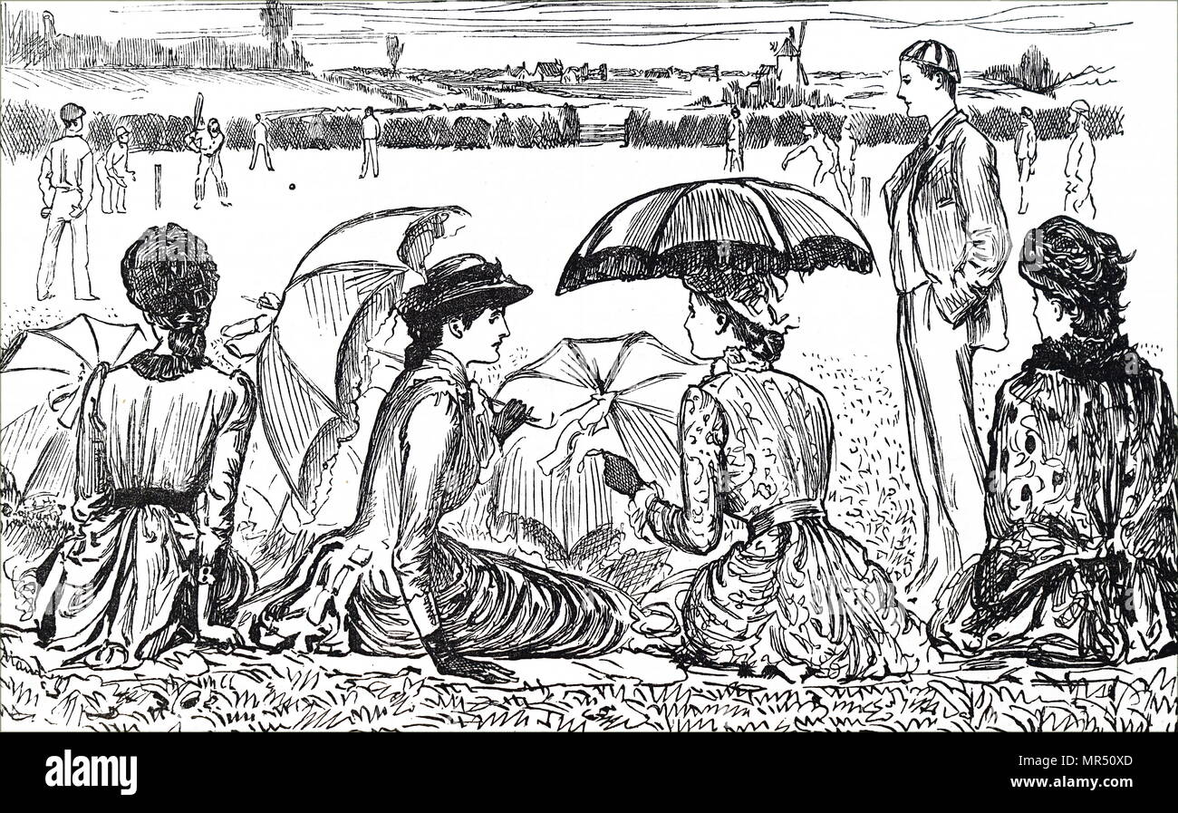 Cartoon depicting women watching a game of cricket. Dated 19th century - Stock Image