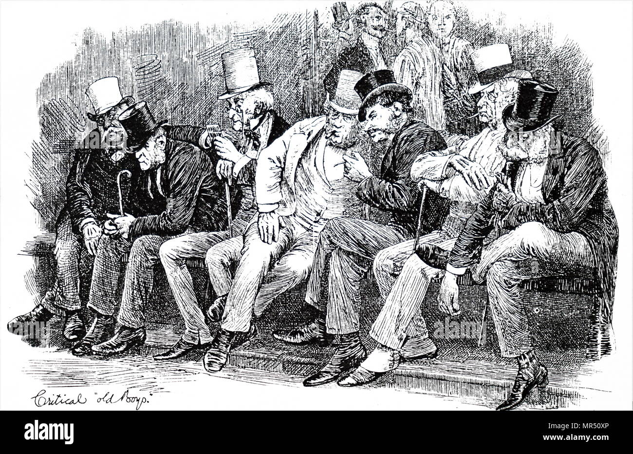 Illustration depicting spectators watching an Eton College and Harrow School cricket match. Illustrated by Hugh Thomson (1860-1920) an Irish illustrator. Dated 19th century - Stock Image