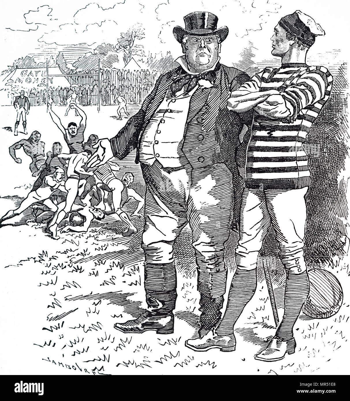Cartoon depicting John Bull admonishing the Rugby Football Association for the roughness of their game. John Bull is a national personification of the United Kingdom in general and England in particular, especially in political cartoons and similar graphic works. Dated 19th century - Stock Image