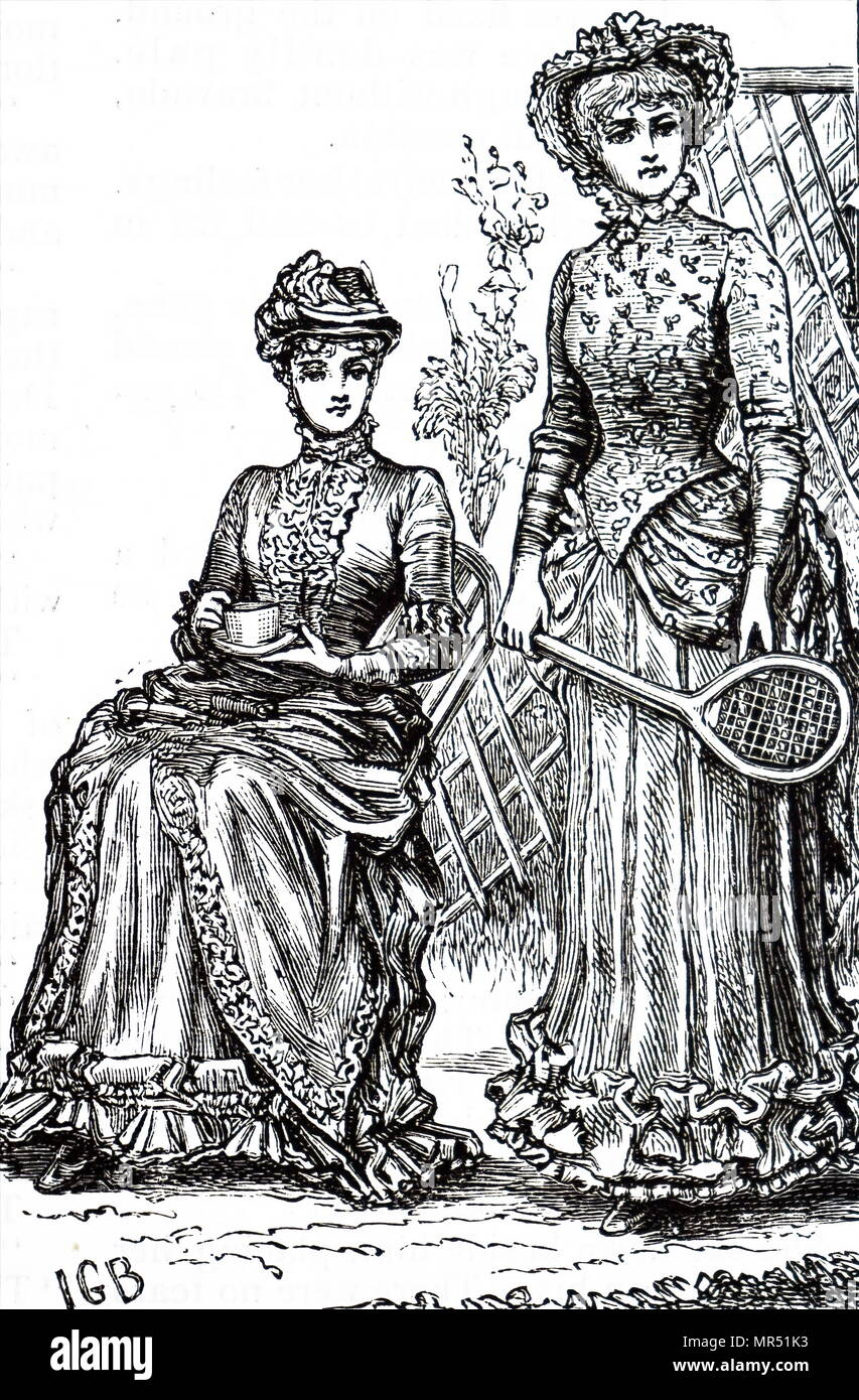 Illustration depicting young ladies waiting for the game of lawn tennis to begin. Dated 19th century - Stock Image