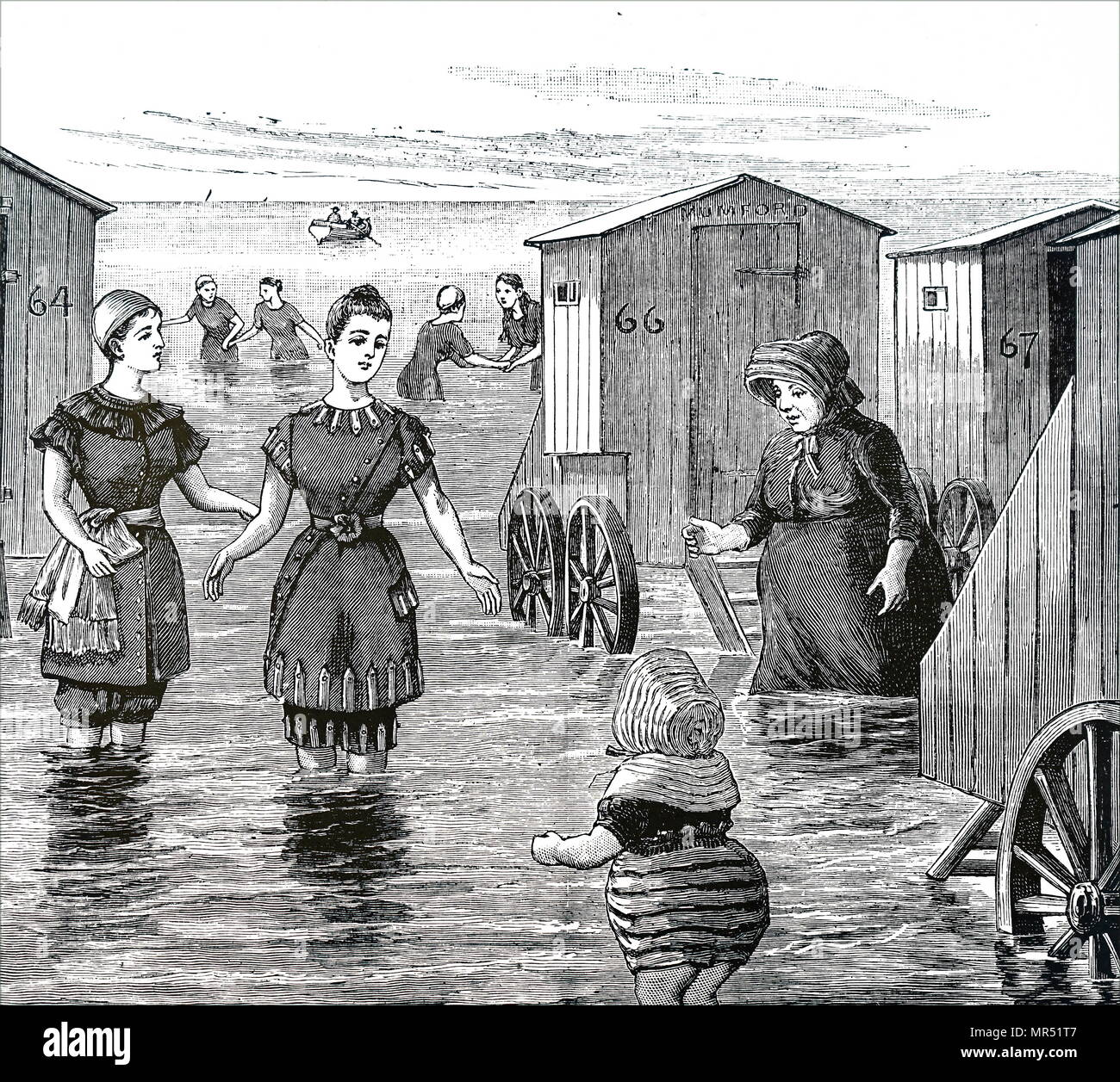 Illustration depicting ladies enjoying a day at the seaside. Dated 19th century - Stock Image
