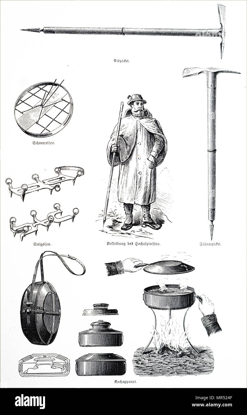 Collection of an Alpinist's equipment including picks, canteen, snow shoes and spikes for boots. Dated 19th century - Stock Image
