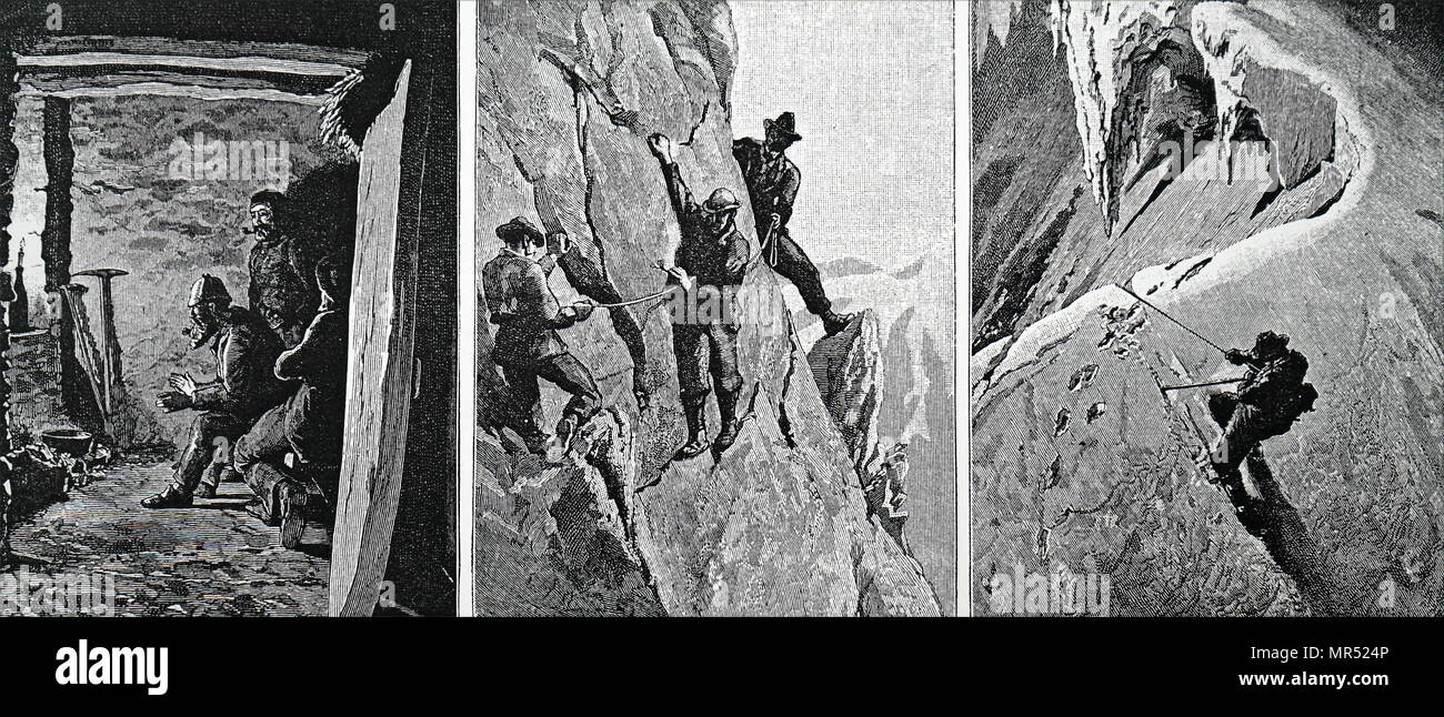 Illustrations depicting members of the Alpine Club climbing in the Alps. Dated 19th century - Stock Image